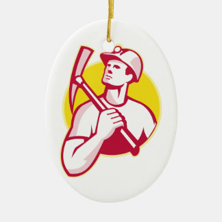 Coal Miner With Pick Axe Looking Up Retro Ceramic Ornament