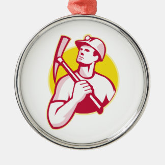 Coal Miner With Pick Axe Looking Up Retro Metal Ornament