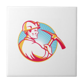 Coal Miner With Pick Axe Looking Up Retro Tile