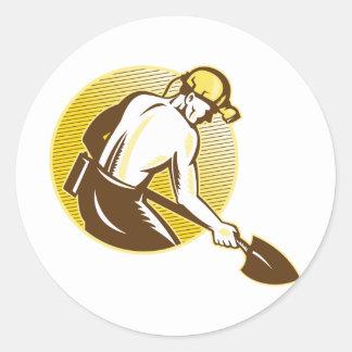 Coal Miner With Shovel Retro Woodcut Retro Stickers