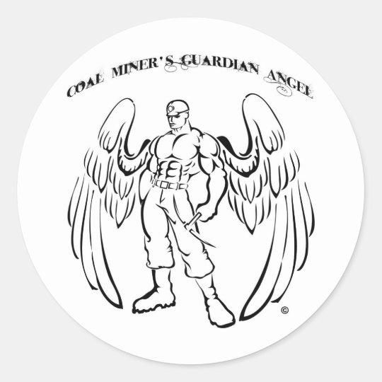 Coal Miner's Guardian Angel Classic Round Sticker