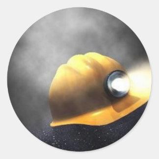 coal miners hat classic round sticker