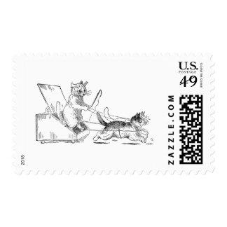 Coal Scuttle Coach Cats Stamp