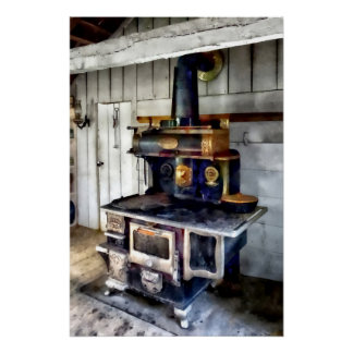 Coal Stove in Kitchen Poster
