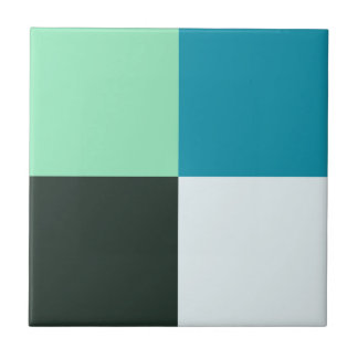 Coal White Teal Green Blue Aqua Turquoise Ceramic Tile