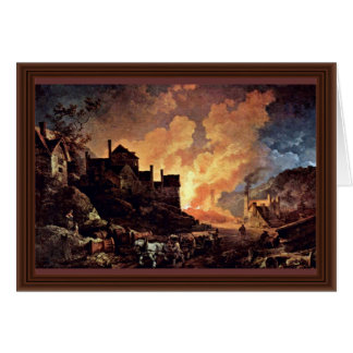 Coalbrookdale At Night By Philipp Jakob Greeting Card