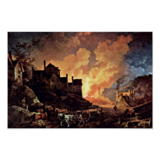 Coalbrookdale At Night By Philipp Jakob Poster