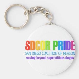 Coalición de San Diego del orgullo de la razón Llavero Redondo Tipo Pin