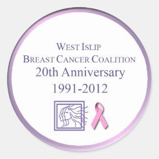 Coalición del oeste del cáncer de pecho del Islip Pegatina Redonda