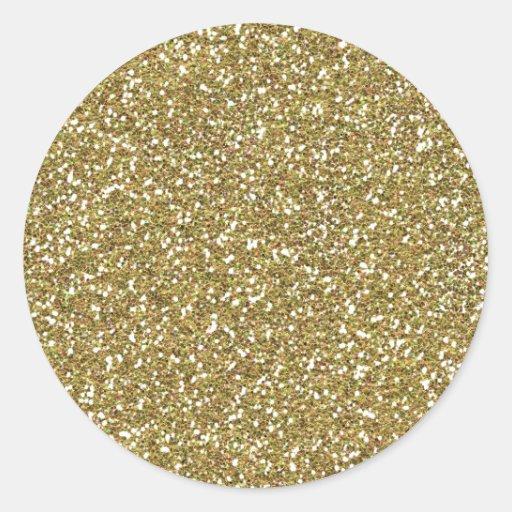 Coarse Golden Glitter Texture Print Sticker