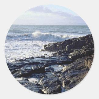 Coast at Swansea U K Round Sticker