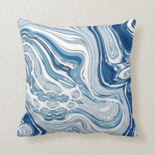 Ocean Abstract Pillow Blue Home Decor Throw Pillow Dark Blue Pillow Deep Blue Fish Pillow Decorative Pillow Ocean Federal Blue Cushion