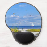 Coast Beach with Birds and Sailboat Gel Mouse Pads