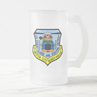 Coast Guard Air Station Detroit Frosted Glass Beer Mug