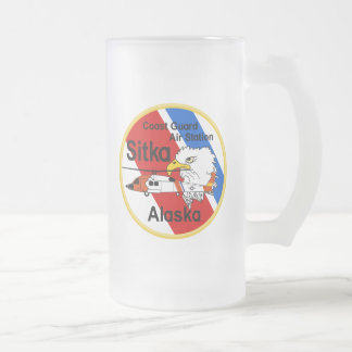 Coast Guard Air Station Sitka Frosted Glass Beer Mug