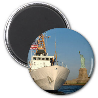 Coast Guard and the Liberty Statue 2 Inch Round Magnet