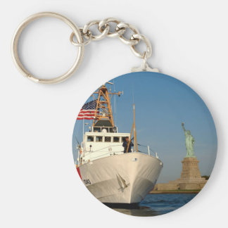 Coast Guard and the Liberty Statue Basic Round Button Keychain