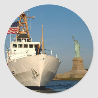 Coast Guard and the Liberty Statue Classic Round Sticker