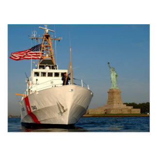 Coast Guard and the Liberty Statue Postcard