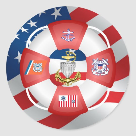 Coast Guard CPO Life-Ring Classic Round Sticker