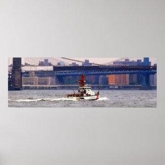 Coast Guard Cutter Near Brooklyn Bridge Poster
