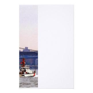 Coast Guard Cutter Near Brooklyn Bridge Stationery Paper