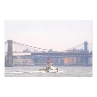 Coast Guard Cutter Near Brooklyn Bridge Stationery Design