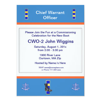 Coast Guard CWO-2 Commissioning Party 6.5x8.75 Paper Invitation Card