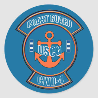 Coast Guard CWO-4 Anchor Emblem. Classic Round Sticker