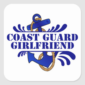 Coast Guard Girlfriend, Anchors Away! Square Sticker
