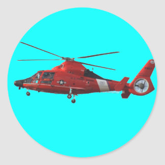 COAST GUARD HELICOPTER CLASSIC ROUND STICKER