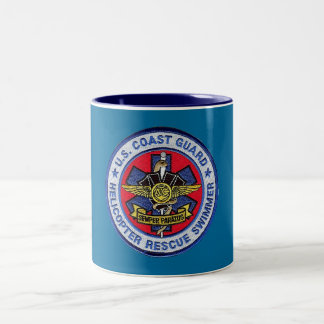 Coast Guard Helicopter Rescue Swimmer Two-Tone Coffee Mug