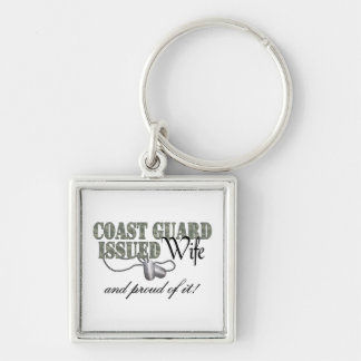 Coast Guard Issued Wife Silver-Colored Square Keychain
