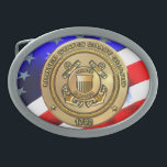 """Coast Guard Oval Belt Buckle<br><div class=""""desc"""">The United States Coast Guard (USCG) is a branch of the United States Armed Forces and one of the seven U.S. uniformed services. The Coast Guard is a maritime, military, multi-mission service unique among the military branches for having a maritime law enforcement mission (with jurisdiction in both domestic and international...</div>"""