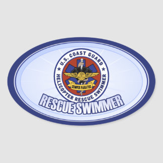 Coast Guard Rescue Swimmer Oval Sticker