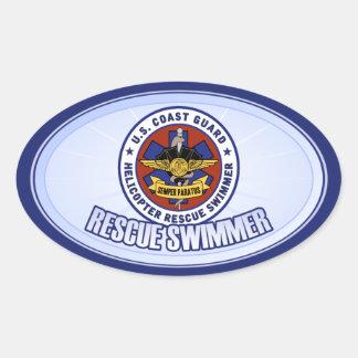 Coast Guard Rescue Swimmer Oval Sticker