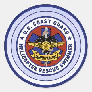 Coast Guard Rescue Swimmer Round Sticker