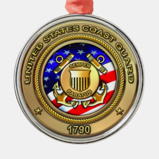 Coast Guard Round Metal Christmas Ornament