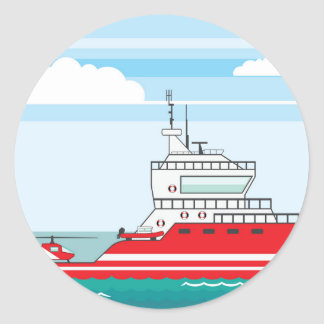 Coast guard ship with helicopter classic round sticker