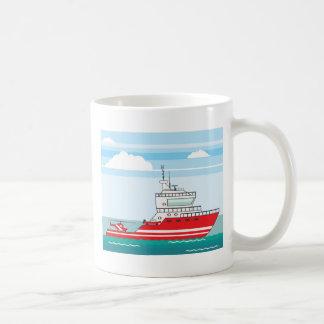Coast guard ship with helicopter coffee mug