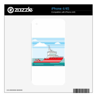 Coast guard ship with helicopter decal for iPhone 4