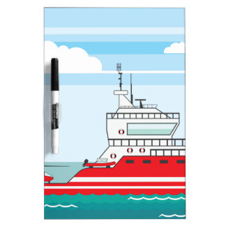 Coast guard ship with helicopter Dry-Erase board