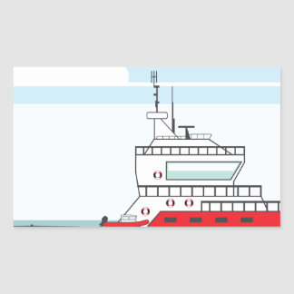 Coast guard ship with helicopter rectangular sticker