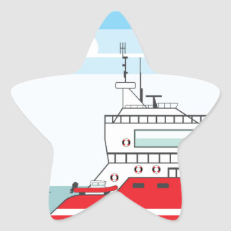 Coast guard ship with helicopter star sticker
