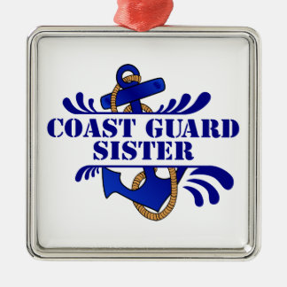 Coast Guard Sister, Anchors Away! Metal Ornament