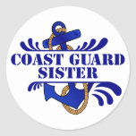 Coast Guard Sister, Anchors Away! Classic Round Sticker