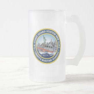 Coast Guard Station New York Frosted Glass Beer Mug