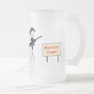 """Coast Guard """"Warning: Coast!"""" Frosted Mug (Female)"""