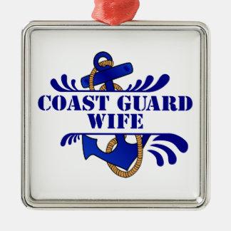 Coast Guard Wife, Anchors Away! Metal Ornament