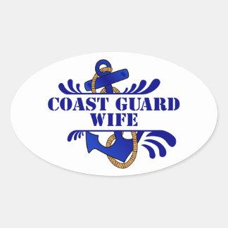 Coast Guard Wife, Anchors Away! Oval Sticker